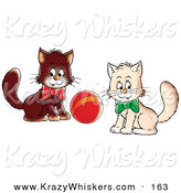 Critter Clipart of a Pair of White and Brown Kittens Wearing Bows, Playing with a Ball, Glancing at the Viewer by Alex Bannykh