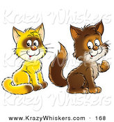 Critter Clipart of a Pair of Yellow and Brown Kitty Cats Sitting and Looking at the Viewer by Alex Bannykh
