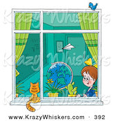 Critter Clipart of a Paper Plane Flying past a School Girl Sitting in a Classroom As She Looks out a Window at a Cat by Alex Bannykh