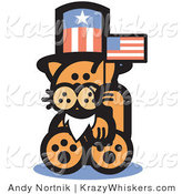 Critter Clipart of a Patriotic Orange Cat Wearing a Fake White Beard and an American Hat and Waving a Flag on Independence Day by Andy Nortnik