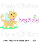 Critter Clipart of a Pink Birthday Greeting of a Cute Angel Cat with a Halo and Wings by