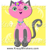 Critter Clipart of a Pink Cat over Yellow by Bpearth