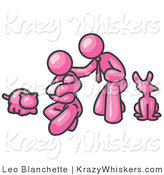 Critter Clipart of a Pink Family, Father, Mom and Newborn Baby with Their Dog and Cat by Leo Blanchette