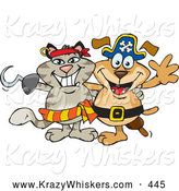 Critter Clipart of a Pirate Cat with a Hook Hand Standing and Smiling with a Pirate Dog Canine with a Peg Leg by Dennis Holmes Designs