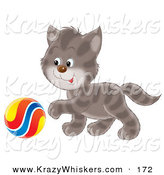 Critter Clipart of a Playful Cute Gray Striped Kitty Reaching His Paw Towards a Colorful Ball by Alex Bannykh