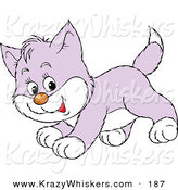 Critter Clipart of a Playful Purple and White Kitty Running by Alex Bannykh