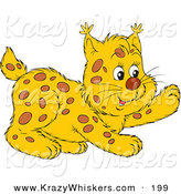 Critter Clipart of a Playful Spotted Bobcat Lifting One Paw and Looking Right by Alex Bannykh