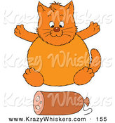 Critter Clipart of a Plump Orange Cat Sitting in Front of a Roll of Sausage by Alex Bannykh