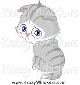 Critter Clipart of a Pouting Gray Kitten Looking over His Shoulder by Yayayoyo