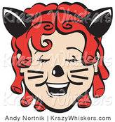 Critter Clipart of a Pretty Red Red Haired Girl with Ringlets Wearing a Headband with Cat Ears, Her Nose Painted and Cheeks with Whiskers, Laughing on Halloween by Andy Nortnik