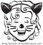 Critter Clipart of a Pretty Ringler-Haired Girl Wearing a Cat Eared Headband on Halloween Black and White by Andy Nortnik