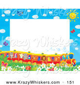 Critter Clipart of a Pretty Stationery Border or Frame of Birds, Butterflies, Bugs, and Flowers Watching a Train of Animals on a Sunny Day by Alex Bannykh