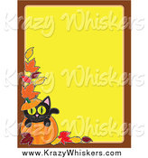 Critter Clipart of a Pumpkin and Black Cat Halloween Background by Maria Bell