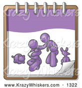 Critter Clipart of a Purple Family on a Notebook by Leo Blanchette