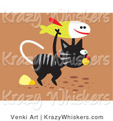 Critter Clipart of a Really Hungry Black and Gray Striped Stray Cat Carrying a Fish for Food by Venki Art