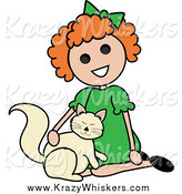 Critter Clipart of a Red Haired Girl Petting a Cat by Pams Clipart