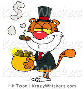 Critter Clipart of a Rich Tiger Carrying a Pot of Gold While Smoking a Cigar by Hit Toon