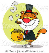 Critter Clipart of a Rich Tiger Smoking a Cigar While Carrying a Pot of Gold by Hit Toon