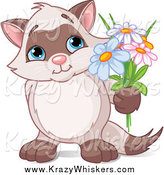 Critter Clipart of a Romantic Kitten Holding up Flowers by Pushkin