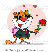 Critter Clipart of a Romantic Tiger Holding a Box of Candies and a Rose for His Date by Hit Toon