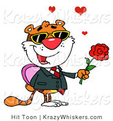 Critter Clipart of a Romantic Tiger Holding a Box of Candies and a Rose for His Valentine by Hit Toon