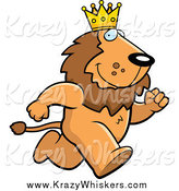 Critter Clipart of a Running King Lion Wearing a Crown by Cory Thoman