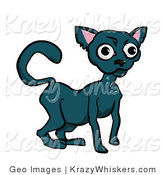 Critter Clipart of a Russian Blue Cat with Wide Eyes by AtStockIllustration