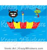 Critter Clipart of a Scared Black and White Cat Stranded in an Upside down Floating Umbrella near a Bird in a Tree During a Terrible Flood by Venki Art