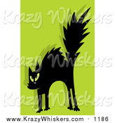 Critter Clipart of a Scared Black Cat on Green by Hit Toon