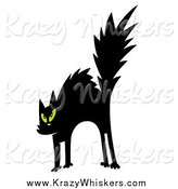 Critter Clipart of a Scared Black Cat with Green Eyes by Hit Toon