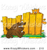 Critter Clipart of a Scared Brown Kitty Hanging from a Fence, Watching a Puppy Fetch a Stick by Alex Bannykh
