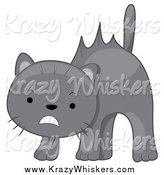 Critter Clipart of a Scared Gray Cat with Hair Sticking up by BNP Design Studio