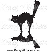 Critter Clipart of a Scared Silhouetted Black Cat Arching Its Back by Xunantunich