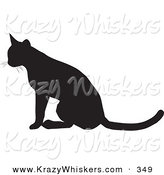 Critter Clipart of a Seated Cat Silhouetted in Black, Facing to the Left by KJ Pargeter