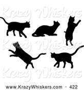 Critter Clipart of a Set of 5 Silhouetted Kitty Cats Walking, Resting, Jumping and Leaping by KJ Pargeter