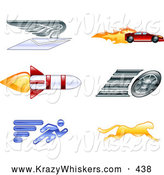 Critter Clipart of a Set of 6 Icons - Winged Envelope, Sports Car, Rocket, Tire, Sprinter and Cheetah by AtStockIllustration