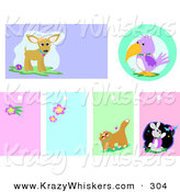 Critter Clipart of a Set of Chihuahua, Parrot, Flower, Cat and Rabbit Backgrounds and Blank Tags on White by