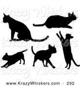 Critter Clipart of a Set of Five Silhouetted Kitty Cats Sitting, Laying, Stretching, Walking and Standing up on Their Hind Legs by KJ Pargeter