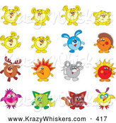 Critter Clipart of a Set of Sixteen Animal Characters Including a Rabbit, Reindeer, Hedgehog, Mouse and Cat by Alex Bannykh