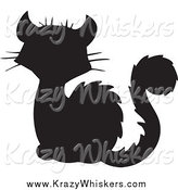 Critter Clipart of a Silhouetted Black Cat by Visekart