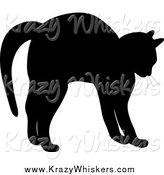 Critter Clipart of a Silhouetted Cat Stretching by Pams Clipart