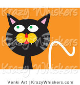 Critter Clipart of a Silly Black Cat with an Orange Background by Venki Art