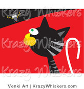 Critter Clipart of a Silly Mouse Teasing a Hungry Black and Gray Tabby Cat by Venki Art