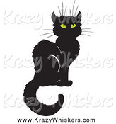Critter Clipart of a Sitting Black Cat by Visekart