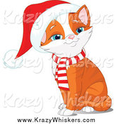 Critter Clipart of a Sitting Orange Kitten Wearing a Santa Hat by Pushkin