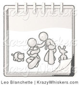 Critter Clipart of a Sketched Design Mascot Family Showing a Man Kneeling Beside His Wife Cradling a Newborn Baby with Their Dog and Cat on a Notebook by Leo Blanchette