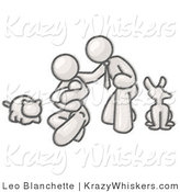 Critter Clipart of a Sketched Design Mascot Family Together, Father, Mother and Newborn Baby with Their Dog and Cat by Leo Blanchette