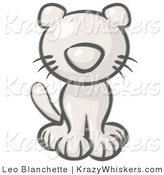 Critter Clipart of a Sketched Sitting Cat by Leo Blanchette
