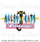 Critter Clipart of a Skinny Black Cat on an Alley Cats Lounge Sign by Andy Nortnik