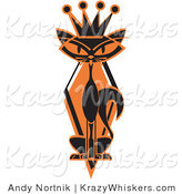 Critter Clipart of a Slim Black Siamese Cat with Orange Eyes in Silhouette, Wearing a Kings Crown by Andy Nortnik